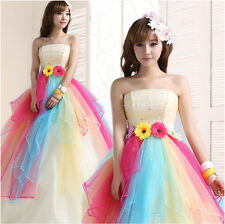 Lady sunflowers princess organza tiered party formal gown evening Prom dress