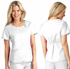 Womens White Curve Stitch Button Tab Sport STRETCH Medical Nursing Scrub Top WOW