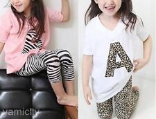 Girl Kids Toddlers Leopard Zebra Loose T-shirt Tee Leggings Pants Summer Suit