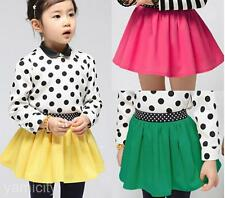 Fashion Kids Girl Toddlers Children Candy Color Elastic Waist Pleated Mini Skirt