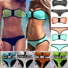 Zipper Bikini Set Push-up Bandeau Padded Bra Swimsuit Bathing Suit Swimwear