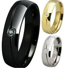 6MM Size 6-15 Stainless Steel Ring Cluster Wedding Black Silver Gold Class Child