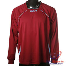 Mitre Sopranox DryCool Long Sleeved Football Shirt Jersey Bordeaux / Blue rrp£20