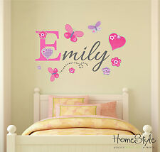 PERSONALISED GIRLS NAME BUTTERFLY  WALL ART STICKERS CHILDRENS KIDS NURSERY | B2