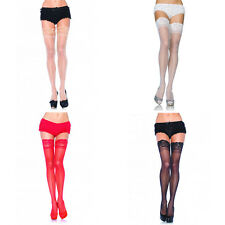 Leg Avenue 1022 Sheer Lace Top Thigh High Stockings Pantyhose Lingerie One Size