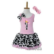Girls Light Pink Cow Print Cowgirl Tutu Pettiskirt 1st Birthday Party Dress