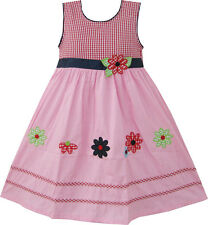 Girls Dress Pink Tartan Embroidered Flower Party Boutique Size 4-10