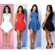 Fashion Sexy Women Bandage Sleeveless Pleated Asymmetrical Party Mini Dress