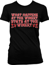 What Happens At The Winery Stays At The Winery Funny Vino Humor Juniors T-shirt