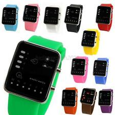 Unisex Silicone LED Digital Sport Wrist Watch Binary Wristwatches For Women Men