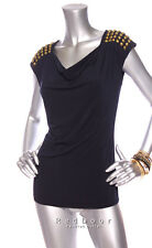 NEW MICHAEL KORS Women Cap Sleeve Studded Drape Neck Top Navy Size XS S M L