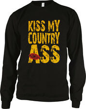 Kiss My Country Ass Popular Country Song Rebel Lyrics Music Long Sleeve Thermal