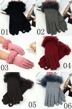 Fashion Women's Stretch knit winter warmer wool rabbit fur Touch Screen gloves
