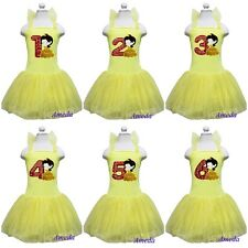 Girls Belle Princess Bling Red 1st - 6th Number Birthday Yellow Tutu Party Dress