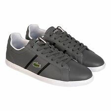 Lacoste Mens Graduate EVO CR Gray Black Leather Lace Up Sneakers Shoes