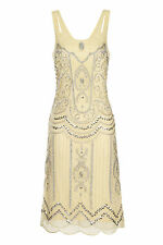 YELLOW VINTAGE CHARLESTON FLAPPER uk 10 12 GATSBY dress 20's ART DECO LEMON