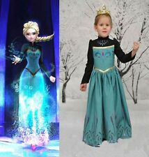 Frozen Costume Fairies Elsa Princess For Girl Kids Fancy Halloween Blue Dress