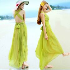 Summer Boho Womens V Neck Cross Strap Bowtie Belt Maxi Long Beach Chiffon Dress