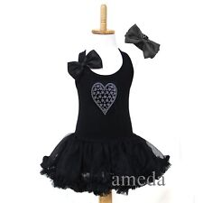 Lovely Girls Rhinestone Silver Hearts Black Tutu Pettiskirt Party Dress 1-4Y
