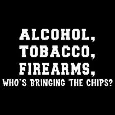 NWOT ALCOHOL, TOBACCO, FIREARMS UNISEX T-SHIRT NOVELTY PARTY COLLEGE