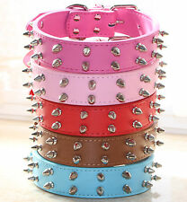 Medium Large Breed 2 Rows Faux Leather Spiked Studded Pet Dog Collar Pitbull