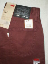 Levis 514 Mid Slim Fit Straight Leg Mens Burgundy Denim Jeans Many Sizes New $58