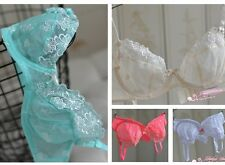 Womens Super Sexy Totally Transparent Mesh Ultra-thin Bra Underwire No-padded