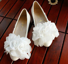 White Sweet Handmade Lace Flowers Flat Bride Bridesmaid Party Show Wedding Shoes