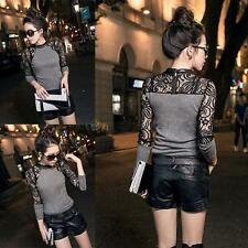 Women Crewneck Long Sleeve Slim Knitwear Sexy Lace Party Club Wear Base Sweater