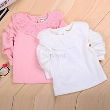 New Infant Kids Girl Baby Tee Shirt Ruffled Lace Cotton Tops Clothes Blouse 0-2Y