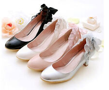 Big Size Mid Heel Lace Knot Closed Toe Patent leather Bride Wedding Shoes