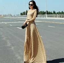 Vintage Womens Retro Gold Lace Floral Printed Backless Long Cocktail Party Dress