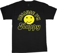 Because I'm happy song funny smiley face popular mens size black shirt tshirt
