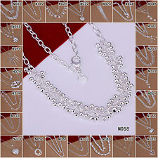 Lady Jewelry 925 Sterling Silver Stamp Pendant Chain Necklace For Gift Idea