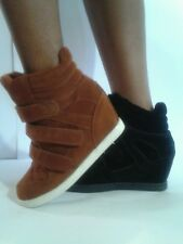 Wedge Heels High Top/ Ankle Sneakers B-C, Synthetic Suede, High (3 in. and Up)