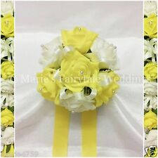 WEDDING FLOWERS GIRL BRIDESMAID BOUQUET POSY FOAM ROSES YELLOW + OTHER COLOURS