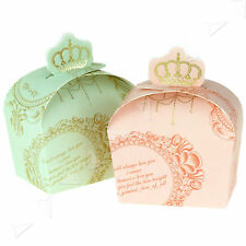 50/100x Sweet Candy Pink Green Colors Wedding Crown Favor Gift Boxes
