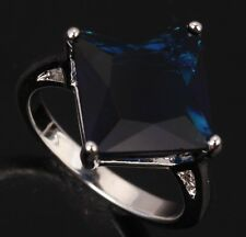 ARBITRARY Sapphire blue Topaz Square Gems Silver Rings US#Size5 6 7 8 9 T0094