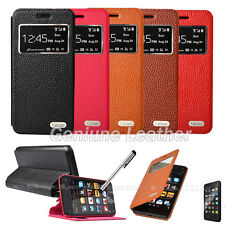 View Window Genuine Leather Case For Amazon Fire Phone +Screen Protector +Stylus