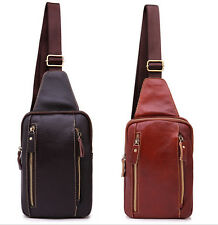 Stylish Mens Leather Chest Bags Sport Travel Shoulder Bags Small Cross Body Bags
