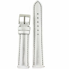 Watch Band Ladies Silver Metallic Leather Padded Built-In Spring Bars LEA 370