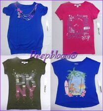 DKNY TOP TEE SHIRT GIRLS SUMMER LOVE SURF PEACE LOGO SZ 4 5 6X BLUE PINK NEW
