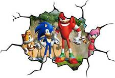 SONIC The Hedgehog CRACKED WALL EFFECT Decal STICKER Decor Art Mural Tails Rose