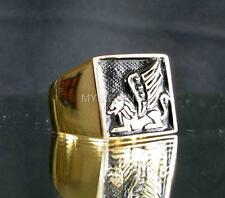 SQUARE SIGNET BRONZE RING ARABIC LION WITH WINGS SPHINX COAT OF ARMS EMBLEM BE