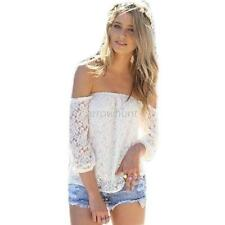Women's Sexy Lace Crochet Tops Crop Top Off Shoulder T Shirt Tops Blouse S M L