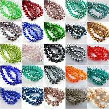70pcs Rondelle Faceted Crystal Glass Loose Beads DIY Jewelry Findings,8mm
