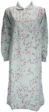 Afibel Traditional Combed Cotton Floral Nightdress Duckegg Blue & Pink