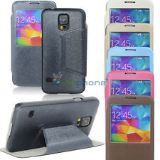 Window View Flip PU Leather Wallet Case Stand Cover For Samsung GALAXY S5 i9600
