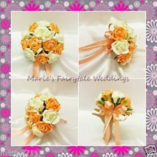 WEDDING FLOWERS BRIDESMAID BOUQUET POSY SILK FOAM ROSES APRICOT + OTHER COLOURS