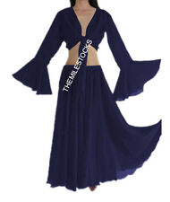 TMS NAVY BLUE Full Circle Skirt + Ruffle Top Belly Dance Costume Gypsy JUPE HAUT